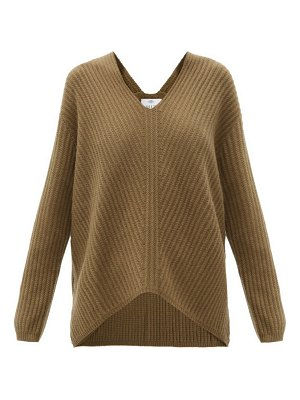 ALLUDE v-neck ribbed cashmere sweater