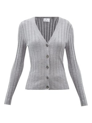 ALLUDE v-neck ribbed wool cardigan