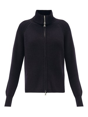 ALLUDE zipped ribbed wool-blend cardigan