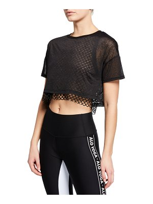 Alo Yoga Afterglow Short-Sleeve Layered Crop Tee w/ Mesh