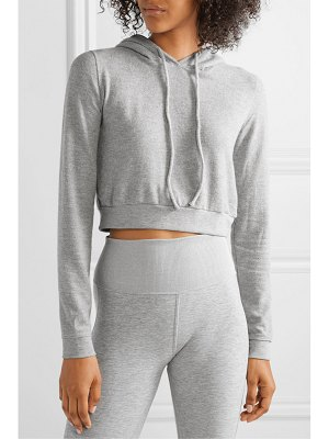 Alo Yoga getaway cropped mélange brushed-jersey hoodie