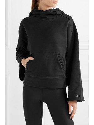 Alo Yoga low key distressed french cotton-blend terry hoodie