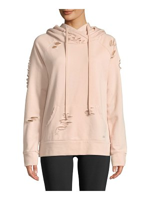 Alo Yoga Ripped French Terry Pullover Hoodie Sweatshirt