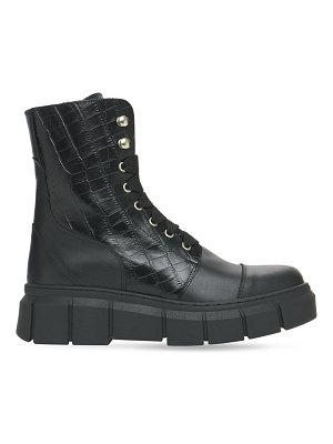 ALOHAS 40mm can can leather & croc combat boots