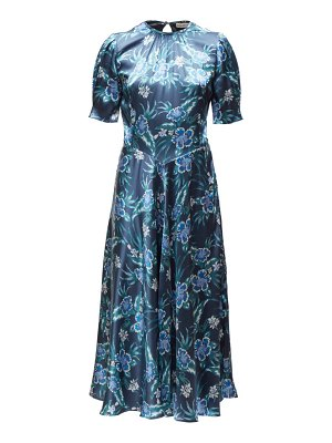 Altuzarra adeline floral silk blend charmeuse midi dress
