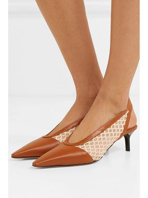 Altuzarra peppino fishnet and leather slingback pumps