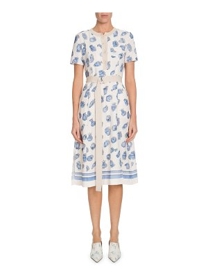 Altuzarra Caletta Short-Sleeve Belted Pottery-Print A-Line Midi Dress
