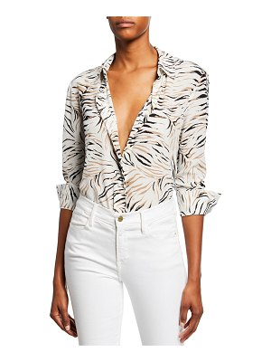 Altuzarra Chika Long-Sleeve Tiger-Print Shirt