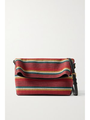 Altuzarra duo reversible striped cotton-canvas and textured-leather shoulder bag - one size