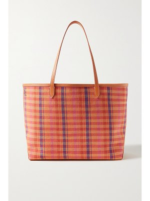Altuzarra duo reversible checked cotton-canvas and textured-leather tote