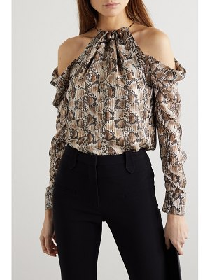 Altuzarra elijah cold-shoulder bead-embellished snake-print silk-blend blouse