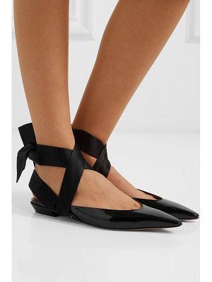 Altuzarra kirk satin-trimmed patent-leather point-toe flats