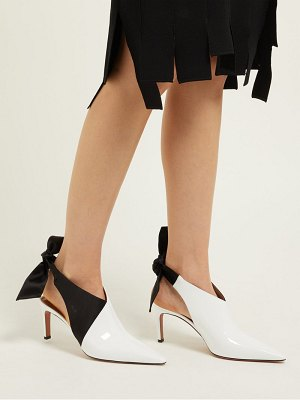 Altuzarra Kirk Tie Heel Satin And Patent Leather Mules