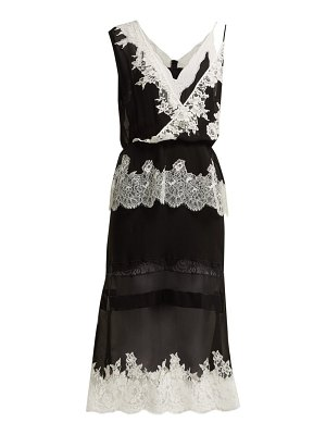 Altuzarra lavanda lace trimmed silk georgette midi dress