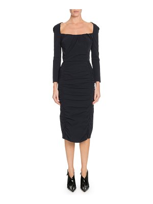 Altuzarra Open-Back Long-Sleeve Ruched Midi Dress