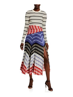 Altuzarra Striped Long-Sleeve Crewneck Pleat Bottom Dress