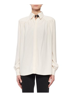 Altuzarra Tamar Long-Sleeve Button-Front Shirred-Back Shirt