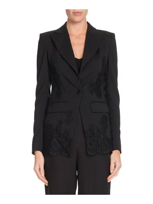 Altuzarra Tonal Lace One-Button Wool Blazer w/ Lace Panels