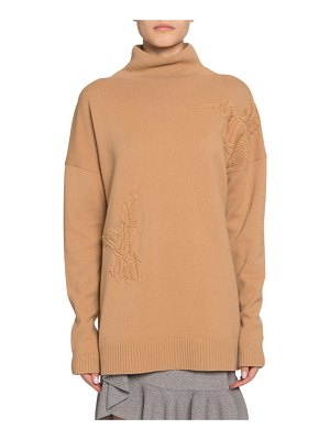 Altuzarra Wool-Cashmere Bird-Embroidered Turtleneck Sweater