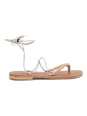 ALVARO akaiah beaded wraparound metallic-leather sandals