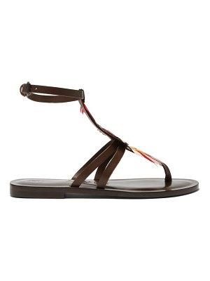 ALVARO ariana feather t bar leather sandals