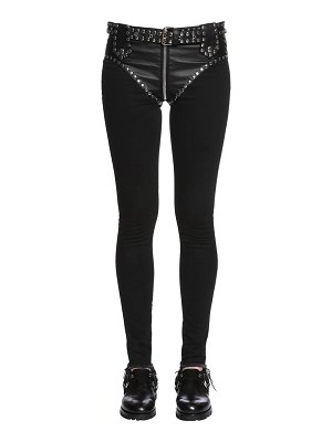Alyx Slim studded faux leather & denim jeans