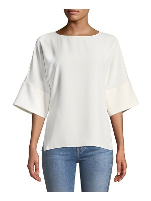 Amanda Uprichard Finch Short-Sleeve Crewneck Top
