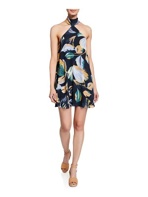 Amanda Uprichard Queens Floral-Print Halter Short Dress