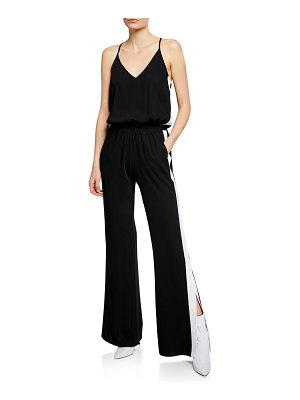 Amanda Uprichard Side-Stripe Sleeveless Track Jumpsuit