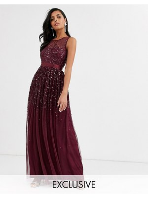 Amelia Rose bridesmaid maxi dress with scattered embellishment in wine