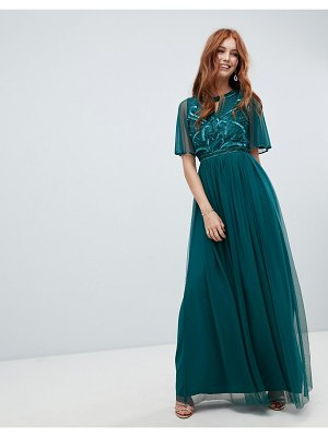 Amelia Rose embellished maxi dress with fluted sleeve in emerald green
