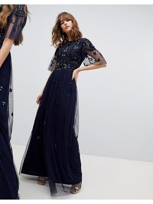 Amelia Rose Embellished Top Cap Sleeve Maxi Dress