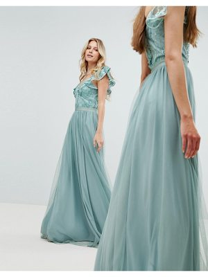 Amelia Rose Embellished Top Maxi Dress With Frill Sleeve Detail
