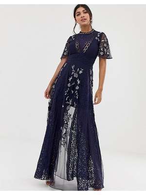 Amelia Rose embroidered lace front maxi dress with panel inserts in navy