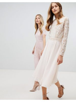 Amelia Rose Embroidered Long Sleeve Midi Dress With Plunge Back Detail