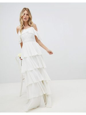 Amelia Rose Pleated Tiered Cold Shoulder Maxi Dress
