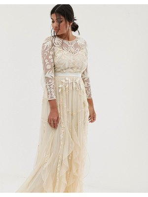 Amelia Rose vintage ruffle maxi dress with soft baroque embellishment in cream