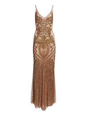 AMEN baroque embroidery slip gown