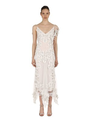 AMEN COUTURE Embellished flower appliqués tulle gown