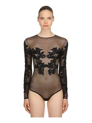AMEN COUTURE Embellished stretch tulle bodysuit