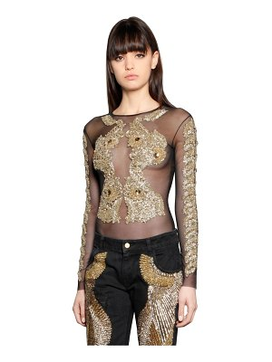 AMEN COUTURE Embroidered tulle bodysuit