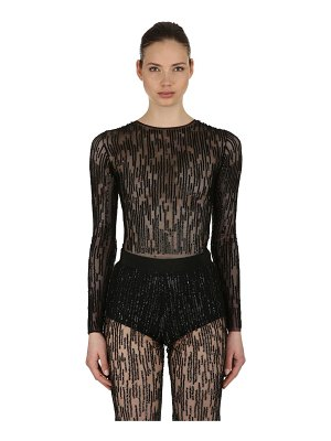 AMEN COUTURE Sequined stretch tulle bodysuit