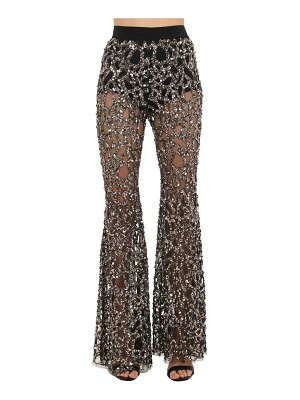 AMEN COUTURE Sequined tulle flared pants