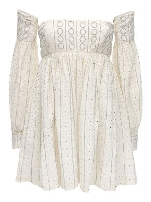 AMEN Embellished eyelet lace mini dress