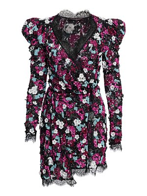 AMEN embroidered sequin long sleeve dress