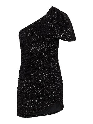 AMEN one-shoulder bow-sleeve sequin mini dress