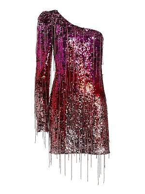 AMEN one-shoulder sequin fringe mini dress