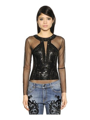 AMEN Sequin embellished tulle bodysuit