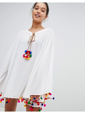 America & Beyond White beach Caftan With Multi Pom Pom