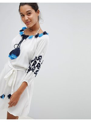America & Beyond Beach Tunic Dress With Blue Embroidery